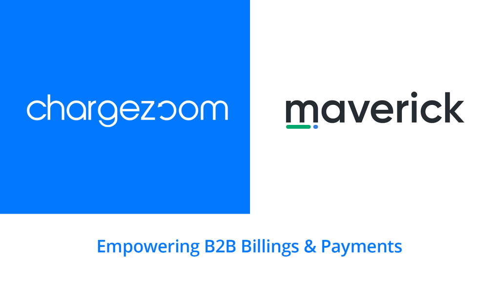 """Partnership announcement. Blue block background on left side with white Chargezoom logo. White block background with Maverick Payments logo. Text beneath logos reads """"Empowering B2B Billings & Payments"""""""